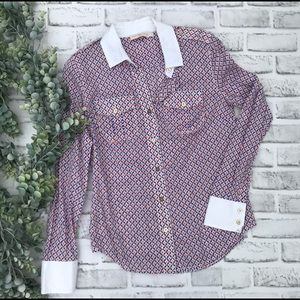 "Tory Burch ""Brigitte"" Button Down Shirt 21/4"